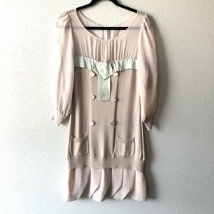 Vintage Coco Chanel Style Sheer & Knit Dress